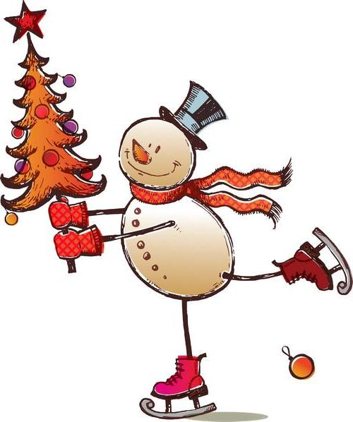 массовые катания коньки коньки, ёлка, новый год, снеговик
