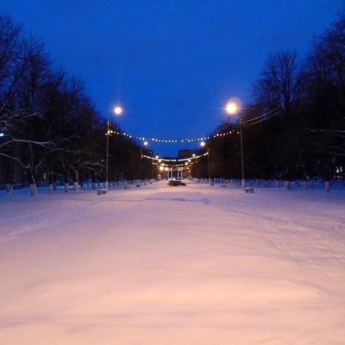 Фонари, гирлянды, Коломна, парковый проезд, каштановая аллея, зима, снег